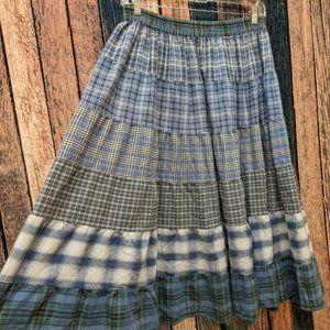 Vintage Blue Plaid Broomstick Skirt 2XL Petite